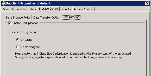 Commvault deuplication on client or on server