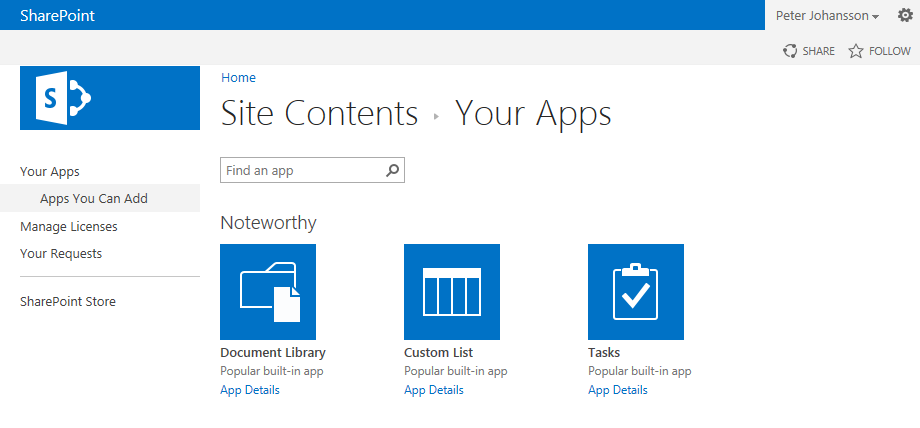 Hosted Sharepoint egna appar